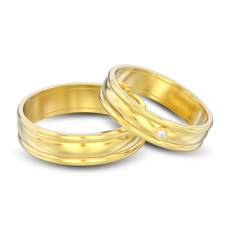 3D illustration isolated two gold matching couples wedding rings with shadow on a white background