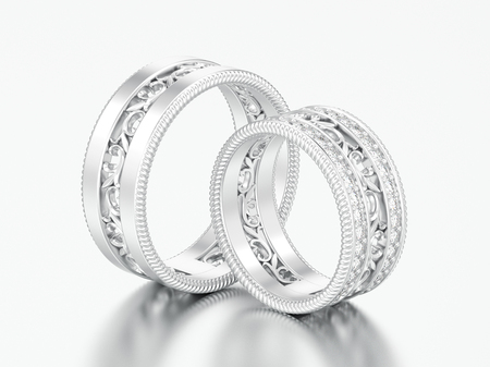 3D illustration two silver decorative carved out ornament diamond rings on a grey background