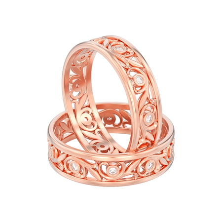 3D illustration isolated two rose gold matching couples wedding diamond rings on a white background Stock Photo