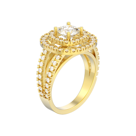 3D illustration isolated gold elegant solitaire decorative diamond ring on a white background