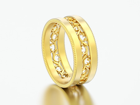 3D illustration gold decorative carved out ornament ring on a grey background