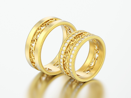 3D illustration two gold decorative carved out ornament diamond rings on a grey background