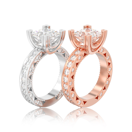 3D illustration isolated two rose gold and silver diamond engagement decorative rings with reflection on a white background
