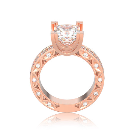 3D illustration isolated rose gold diamond engagement decorative ring with reflection on a white background Stock Photo