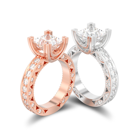 3D illustration isolated two rose gold and silver diamond engagement decorative rings with shadow on a white background