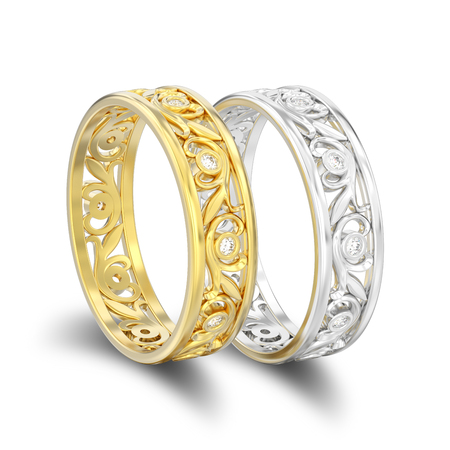 3D illustration isolated two gold and silver matching couples wedding diamond rings with shadow on a white background Stock Photo