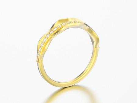 3D illustration gold decorative diamond ring on a grey background