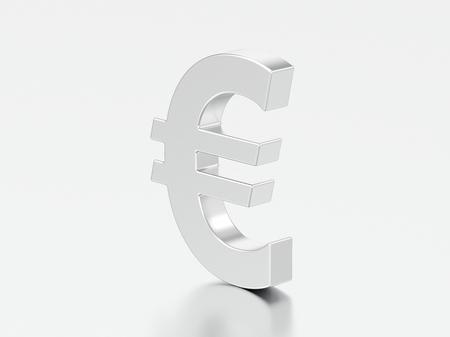 3D illustration silver uero money on a gray background