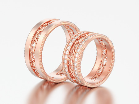 3D illustration two rose gold and decorative carved out ornament diamond rings on a grey background