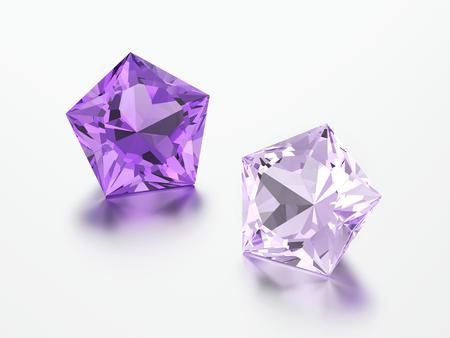 3D illustration two purple pentagon diamonds stones on a grey background Standard-Bild