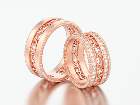 3D illustration two rose gold decorative carved out ornament rings on a grey background
