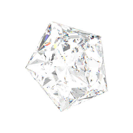 3D illustration isolated white pentagon diamond stone on a white background