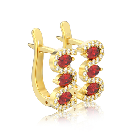 3D illustration isolated gold diamond red ruby earrings with hinged lock with reflection on a white background Banque d'images