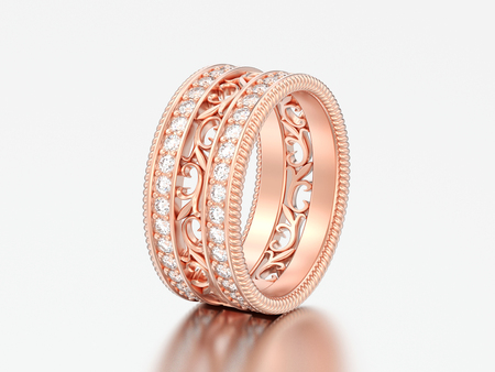 3D illustration rose gold decorative carved out ornament ring on a grey background