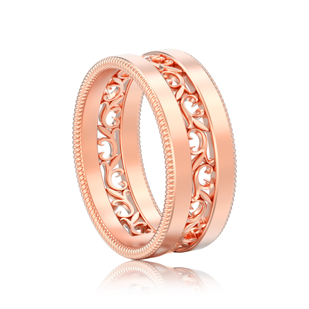 3D illustration isolated rose gold decorative carved out ornament ring with reflection on a white background Stock Photo