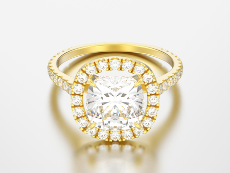 3D illustration yellow gold engagement wedding cushion diamond ring on a grey background