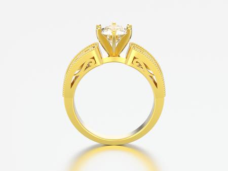 3D illustration gold engagement wedding decorative ornament diamond ring on a grey background