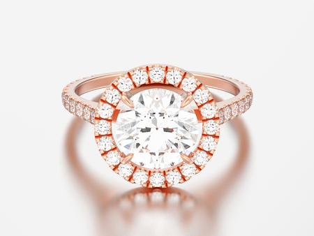 3D illustration rose gold engagement wedding diamond ring on a grey background   Stock Photo