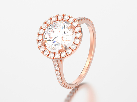 3D illustration rose gold engagement wedding diamond ring on a grey background   Stock Photo