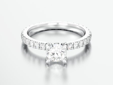 3D illustration silver engagement wedding diamond ring on a grey background   Stock Photo
