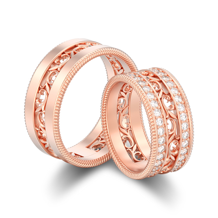 3D illustration isolated two rose gold decorative carved out ornament rings with shadow on a white background