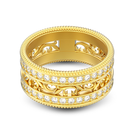 3D illustration isolated gold decorative carved out ornament ring with shadow on a white background