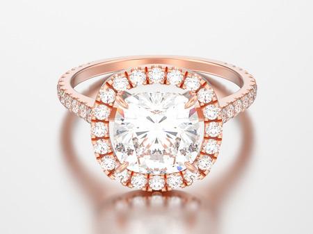 3D illustration rose gold engagement wedding cushion diamond ring on a grey background   Stock Photo