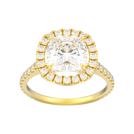 3D illustration yellow gold engagement wedding cushion diamond ring on a white background  Stock Photo