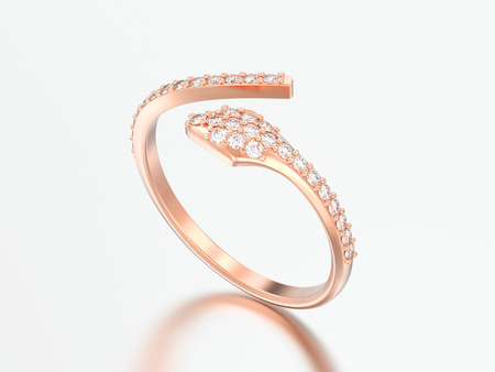 3D illustration rose gold free size adjustable diamond ring on a grey background