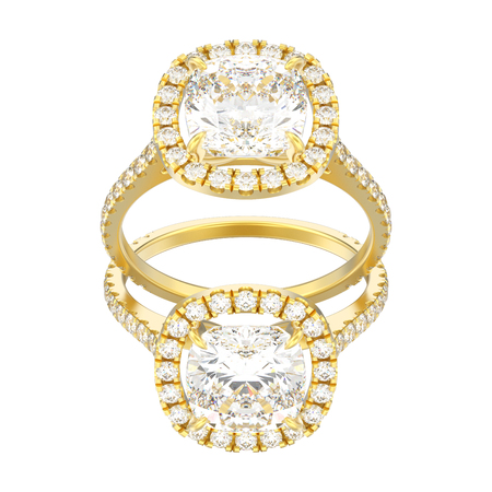 3D illustration two yellow gold engagement wedding cushion diamond rings on a white background