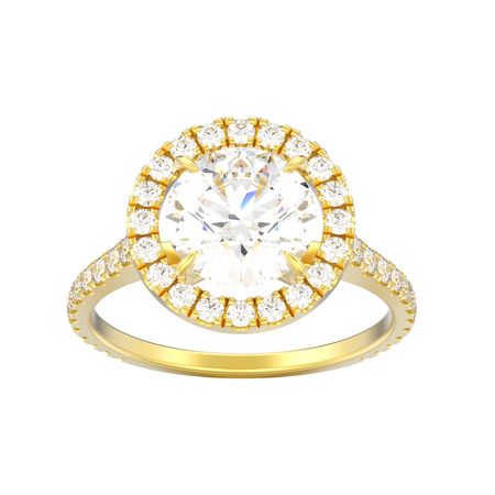 3D illustration isolated yellow gold engagement wedding diamond ring on a white background