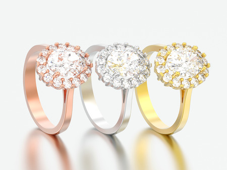3D illustration three different gold oval halo diamond engagement wedding rings on a grey background