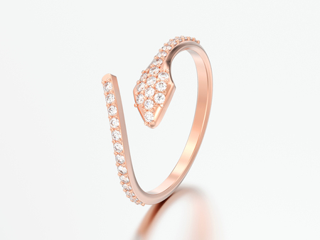 3D illustration three rose gold free size adjustable diamond ring on a grey background