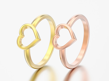 3D illustration two yellow and rose gold engagement wedding heart rings on a grey background