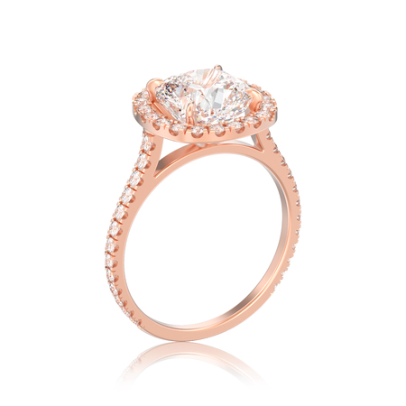 3D illustration isolated rose gold engagement wedding cushion diamond ring with reflection on a white background  Stock Photo