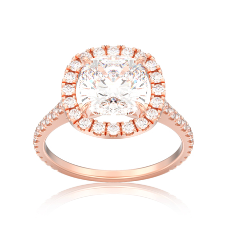 3D illustration isolated rose gold engagement wedding cushion diamond ring with reflection on a white background