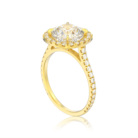 3D illustration isolated gold engagement wedding cushion diamond ring with reflection on a white background Stock Photo