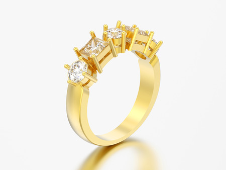 3D illustration gold decorative ring with different round and square diamont on a grey background