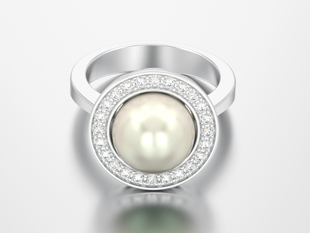 3D illustration silver diamond engagement wedding ring with pearl on a grey background