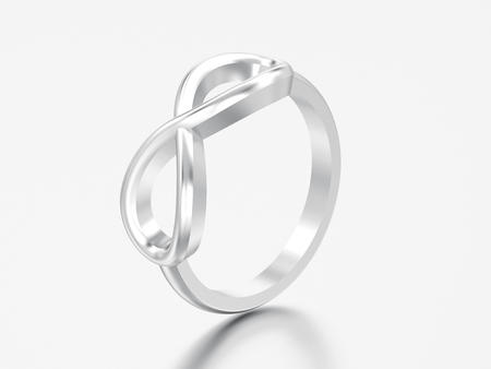 3D illustration silver simple infinity ring on a grey background