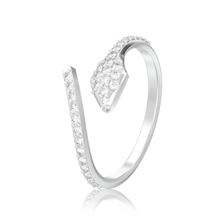 3D illustration isolated silver free size adjustable diamond ring with reflection on a white background