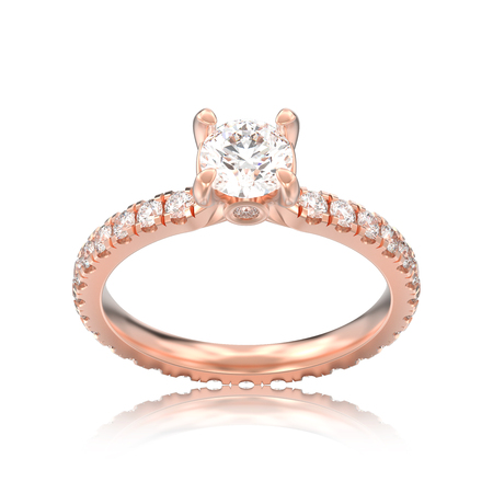 3D illustration isolated rose gold diamond engagement wedding ring with reflection on a white background