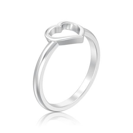 3D illustration isolated silver engagement wedding heart ring with reflection on a white background