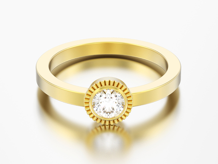 3D illustration gold wedding solitaire round diamond  bezel ring  on a grey background
