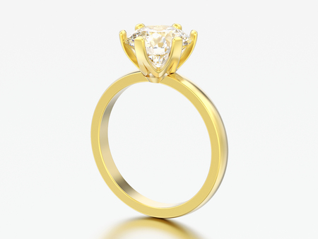 3D illustration yellow gold traditional solitaire engagement diamond ring on a grey background