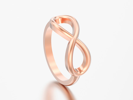 3D illustration rose ring simple infinity ring on a grey background