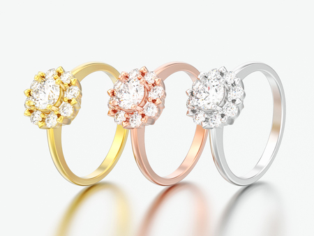 3D illustration three different gold engagement wedding diamond rings on a grey background
