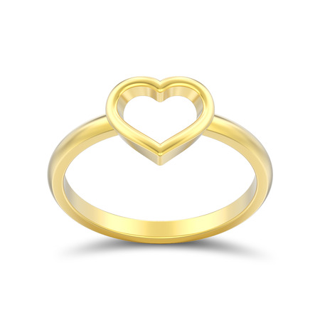 3D illustration isolated gold engagement wedding heart ring with shadow on a white background