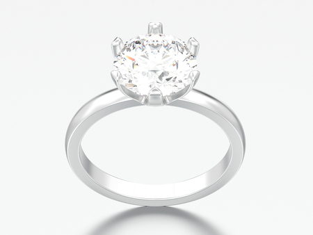 3D illustration silver traditional solitaire engagement diamond ring on a grey background Reklamní fotografie
