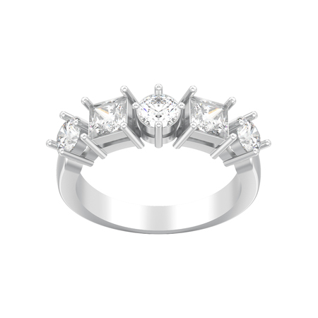 3D illustration isolated silver decorative ring with different round and square diamond on a white background